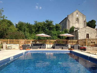 Photo for Barn with heated pool and games barn. in a village with shop, bar and chateau.