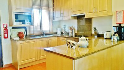 Well equipped open plan kitchen