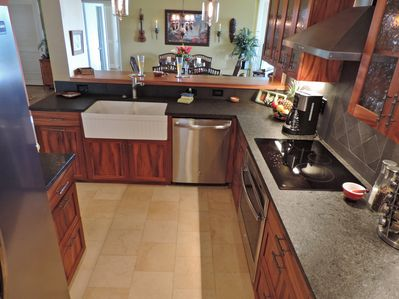 Beautiful Koa kitchen with all new appliances and a farmhouse sink
