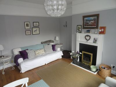Bright, spacious living room overlooking Eddleston Water