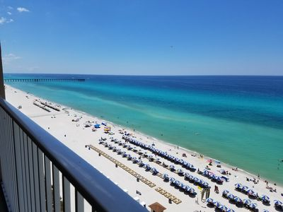Photo for SPECTACULAR GULF FRONT VIEW!! WALK TO PIER PARK! BEACH CHAIRS INCLUDED 3/1-10/3