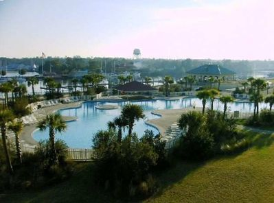 Largest Pool in North Myrtle Beach with Docksiders Restaurant & Waverunners