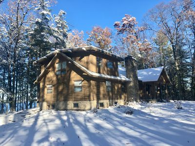 Photo for Spacious, up north log home, waterfront, private, dog considered