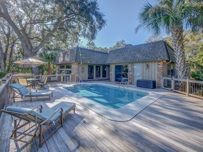 Photo for Stunning Sea Pines Home, Private Pool, Golf Views, Walk to Beach, Free Bikes