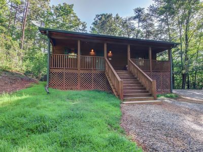 Photo for Spacious, dog-friendly cabin with screened-in deck, private hot tub, & firepit