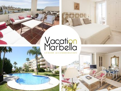 Photo for Stunning terrace, Top location, Golden Mile, 500m from the beach & promenade.