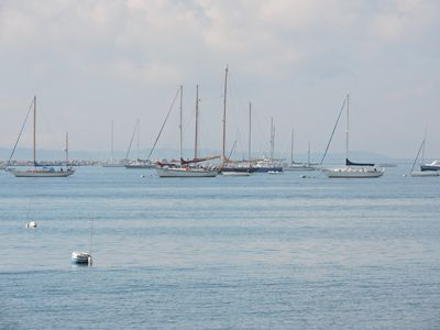Sailboats at anchor, as seen from the house