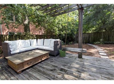 Spacious and Shady back deck and yard.