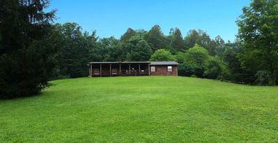 Photo for HOCKING HILLS CABIN WITH HOT TUB AND POND ON 4 SECLUDED ACRES with REC BARN