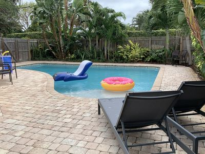 Photo for Great home 5 min drive to the bch with a salt heated pool!