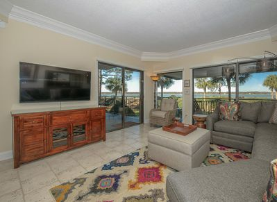 Living Room with New Furniture and Views of the Calibogue Sound