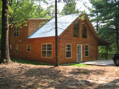 Photo for Beautiful real log cabin - hot tub, pool table, great view, WI-FI Internet