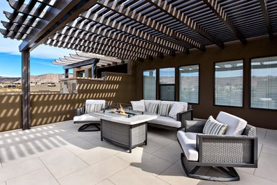 Front Patio & Outdoor Fire pit - Front patio furniture with fire pit.