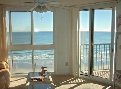 Oceanfront view from the living room with floor to ceiling windows