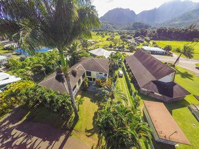 Aerial View of the Hale Hanalei and the Mountains