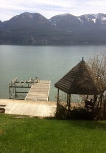 View of Lake from the deck.  Small Gazebo on right.