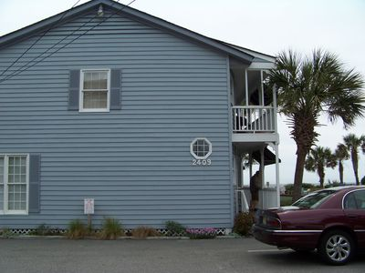 Convenient private parking.  Our townhouse runs perpendicular to the ocean.