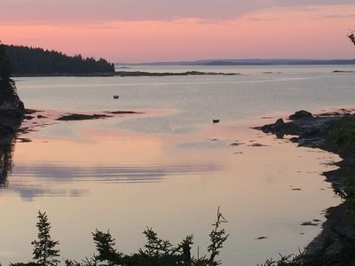Photo for Peaceful cottage overlooking private cove on Maine island