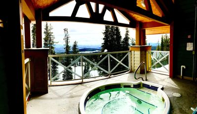 A serene and scenic soak in the outdoor hot tub so relax those tired muscles.