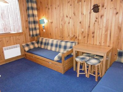 Photo for Surface area : about 20 m². 3rd floor. View ski slopes. Hall. Living room with 2 sofa-beds