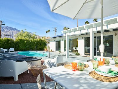 Photo for Beautiful Contemporary Home with mid-century vibe pool & amazing mountain views!