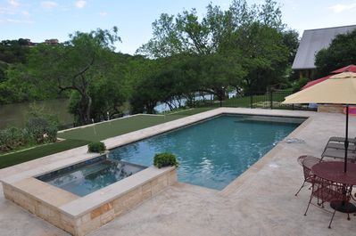 Saltwater pool and spa, shared with owners