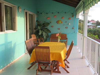 Photo for Panoramic view of the Caribbean Sea, 5 minutes walk from the beach Leroux