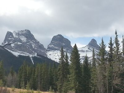 Three Sisters as seen from front of resort