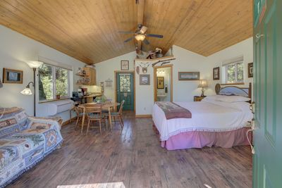 Upstairs studio with King bed, kitchenette and bathroom