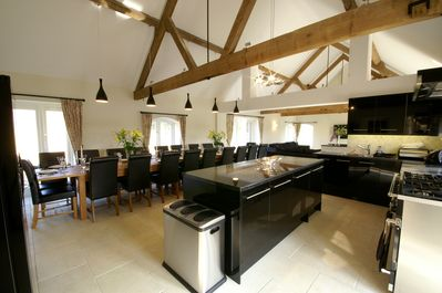 The Barn - Kitchen & Dining Room for 22. Includes double oven & two dishwashers.