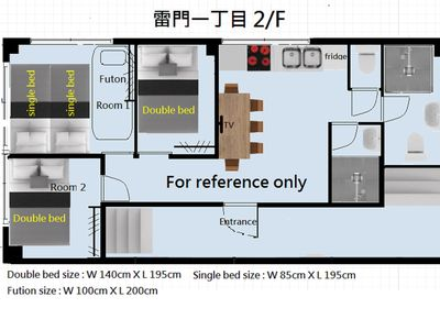 Photo for Kaminarimon 2/F 3 bedrooms,4 beds, 2 to