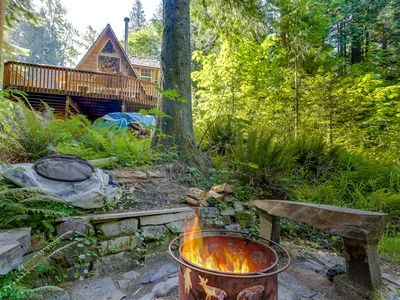Photo for Classic waterfront A-frame w/ a full kitchen & large deck - close to skiing!