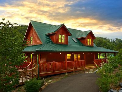 Photo for Pet-friendly cabin with pool table, hot-tub, wrap-around deck, & free passes to local attractio