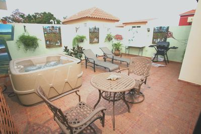 Terrace with hot tub, BBQ, in Sleeps 20, 40, 50 options