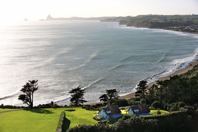 A view from above, the lodge is tucked down into the hill for intimate sea views