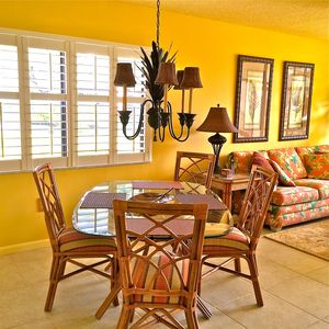 Dining area with lake view and new plantation shutters