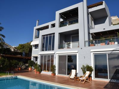 Photo for Twin Palms Villa with spectacular view of Saronic Gulf and infinity pool.