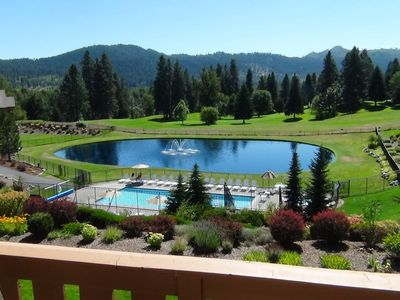 Peaceful view from our deck enjoying the view of mountains, river & golfcourse.