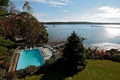 Inground pool and private dock located on beautiful Linekin Bay.  All new 2020!