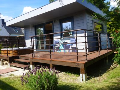 Photo for Wooden cabin on Stilts + Private SPA. + Beach 5 'to Feet