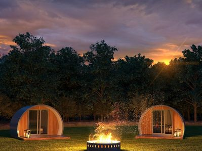 night time at Inverness Glamping