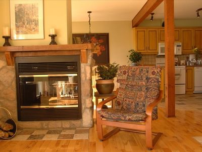 The double sided fireplace. Perfect for a toasty apres-ski.
