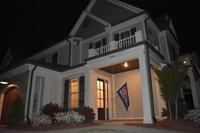 front of home, nighttime