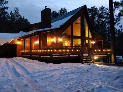 Cabin in the snow. Photo credit - Gary Tenney.