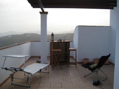 Photo for Penthouse, roof terrace, pool. Mountain & sea views.