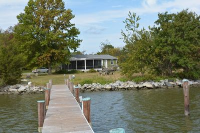The Cottage from the dock that has water,electricity, and lights
