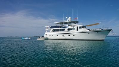 80 ftMotor Yacht in the Abacos, available for charter or as 'hotel' for NGOs.