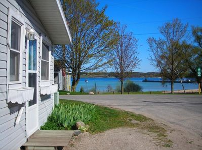 View of Beautiful Blue Suttons Bay from the Main Entrance to the Bayview Cottage