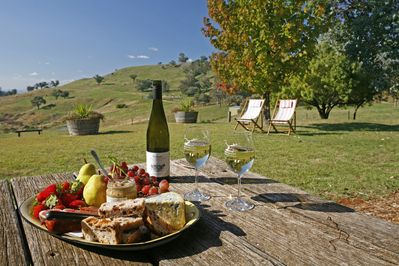 The Cattleman's yard, great place to relax with a cheese platter and local wine