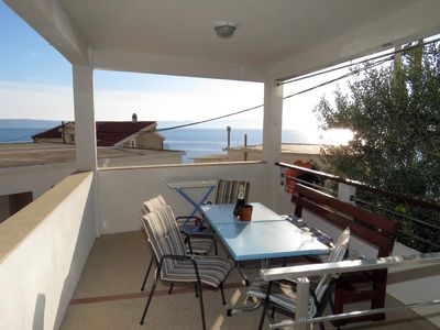Photo for Three bedroom apartment with terrace and sea view Drašnice, Makarska (A-5265-b)
